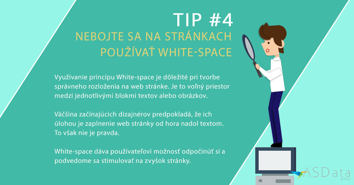 Tip #4 Nebojte sa na stránkach používať White-space