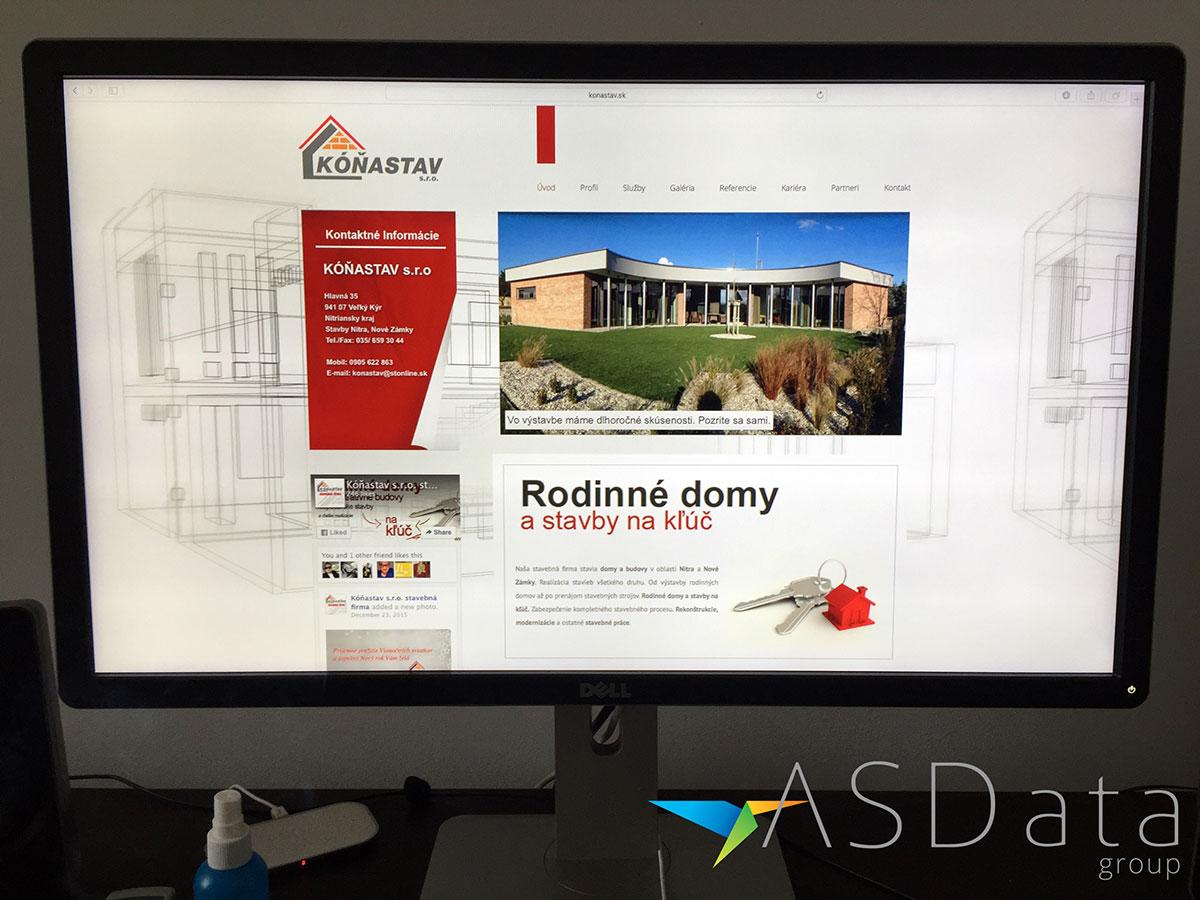 KóňaStav.sk - prezentácia stavebnej firmy + responzívny dizajn stránok, firemná web stránka na monitore