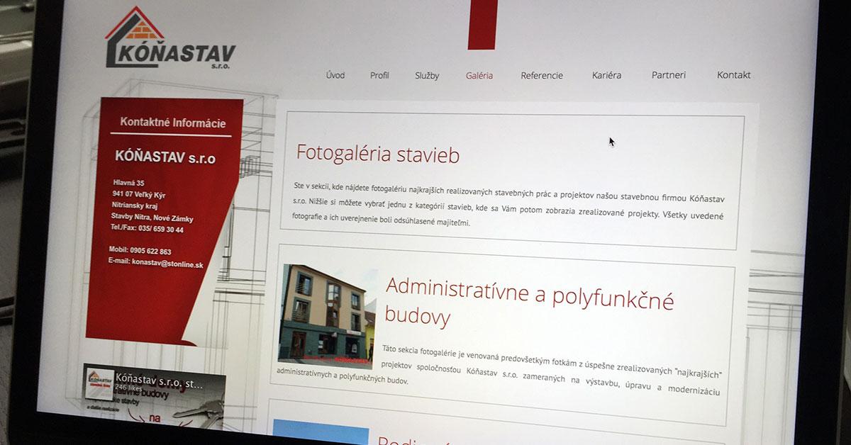 KóňaStav.sk - prezentácia stavebnej firmy + responzívny dizajn stránok, firemná web stránka