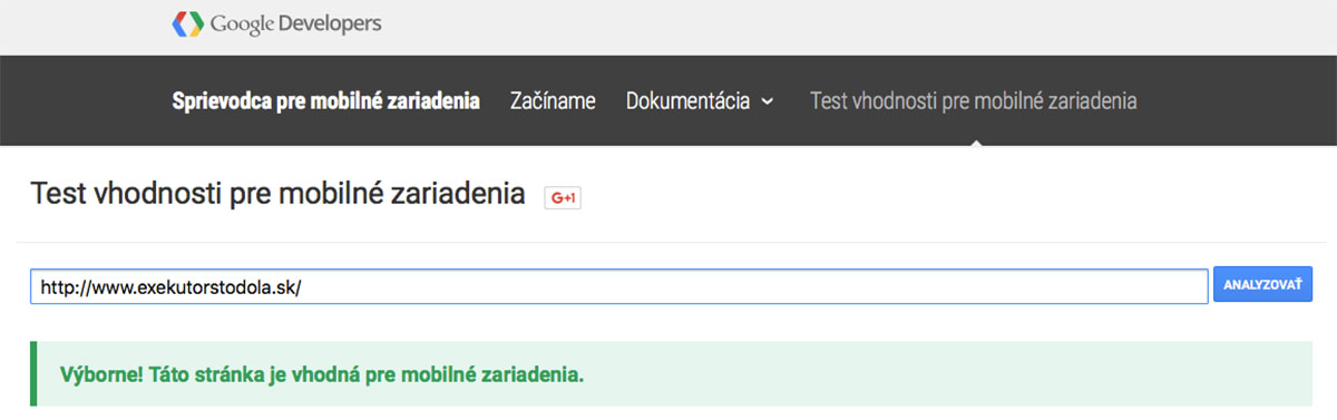 ExekútorStodola.sk - firemná responzívna webstránka, test vhodnosti na mobilné zariadenia