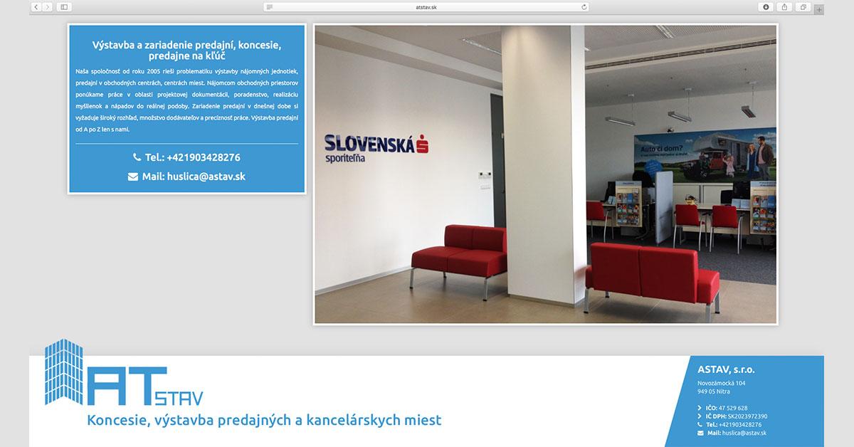 Mikrostránka za 12 hodín - ATstav.sk, webová stránka firmy
