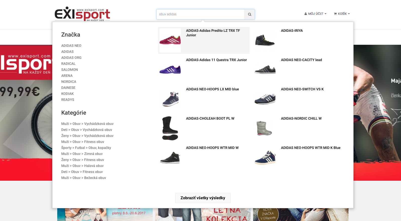 Autocomplete a elastic search vyhľadávanie na mieru pre EXIsport.com- Prestashop