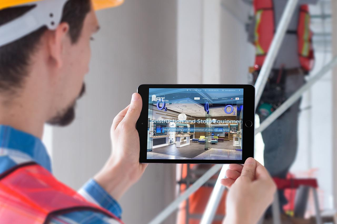 Webstránka, brand a polep áut pre stavebnú firmu ATstav.sk na tablete