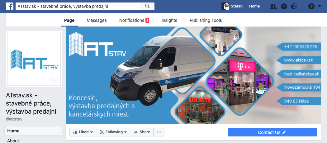Facebook fanpage pre prezentáciu firmy, služieb, referencií