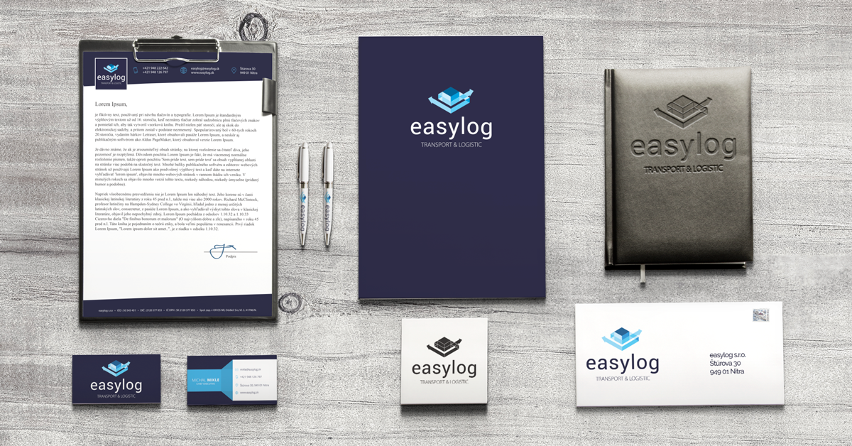 Corporate identity for easylog transport & logistics corporate binder with printing, letterhead for easylog, business cards, pens, or printing of envelopes