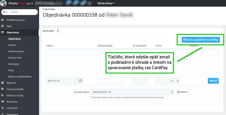 Platba CardPay neúspešná? Využite opätovnú platbu v admin rozhraní Prestashopu, prehľad objednávky