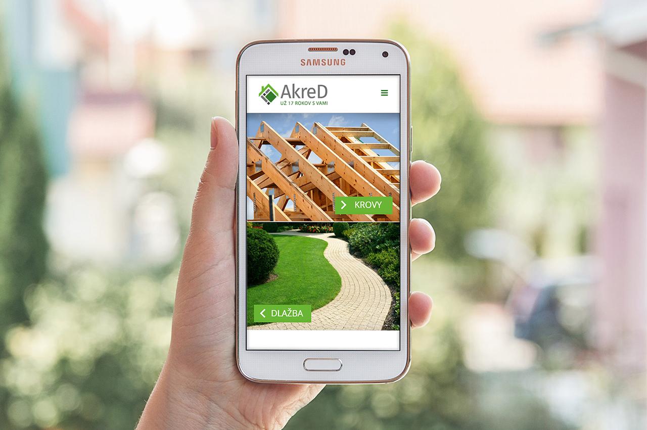 Internetová stránka pre AkreD na mobile