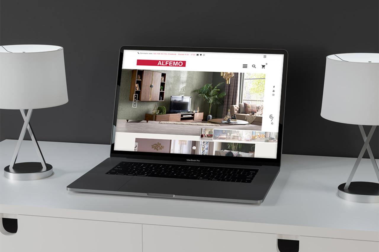 E-shop pre obchod s nábytkom Alfemo na notebooku