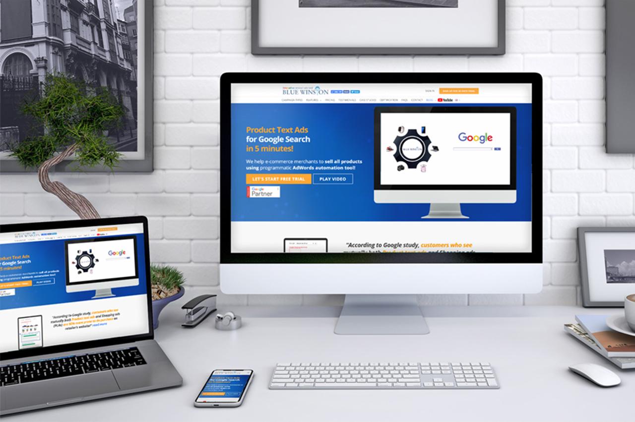 BlueWinston - pomocník s PPC kampaňami, webová stránka na notebooku, mobile a iMacu