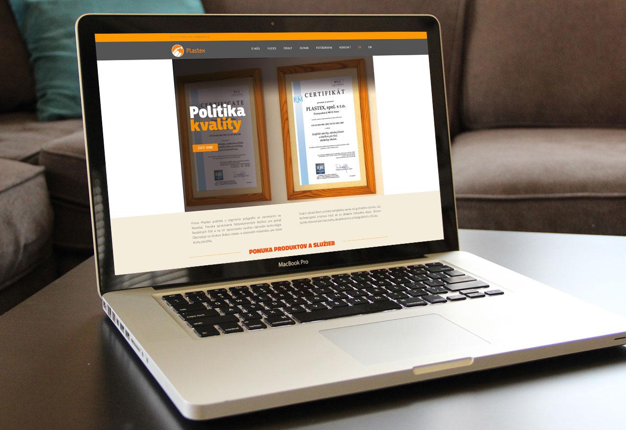 Plastex - Flexotlačové stočky, obaly, dizajn, fotografie, webová stránka na notebooku